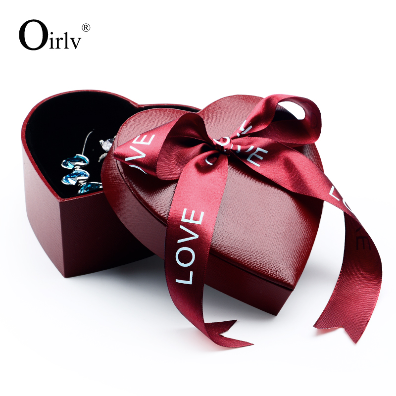 Oirlv Wholesale Custom Red Leatherette Paper Jewelry Boxes With Ribbon Ring Necklace Storage Heart Shaped Gift Box