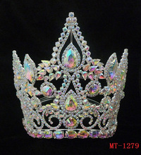 fashion full ab crystal tiara crown, large pageant crowns, royal crown for king