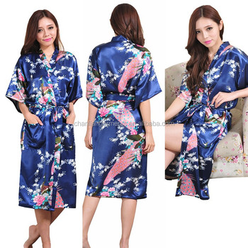 Wholesale 2017 most popular sexy pajams large size casual floral stain silk bathrobe sleepwear