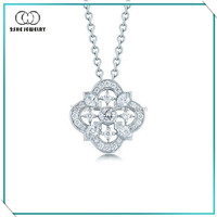 Clear cz 925 sterling silver necklace jewelry