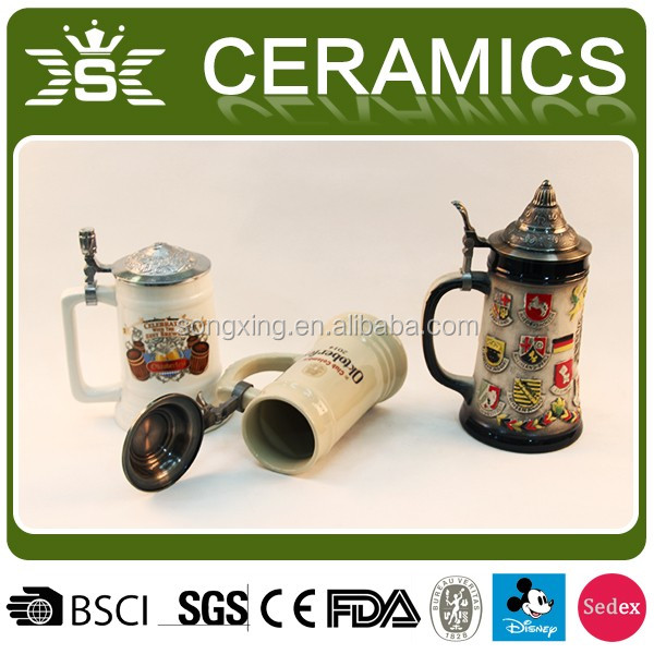 2017 Decorative Cold China Ceramic Beer Steins Mugs