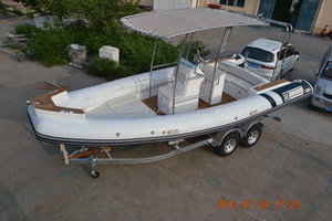 CE 6.8m fiberglass V deep hull inflatable yacht made in china