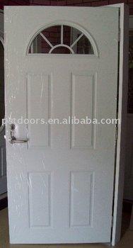 4 panel steel tempered glass door decorative half moon for Decorative tempered glass panels