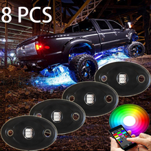8 PCS super bright IP68 Rgb Led Color Changing Rock Lights mini wireless APP bluetooth remote control led car interior lights