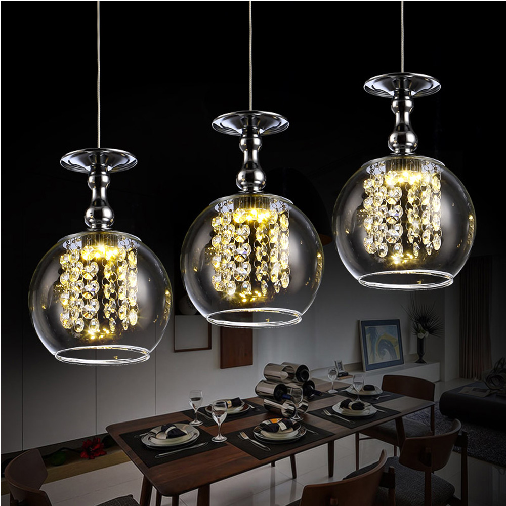Indoor decorative led k9 crystal beads modern hand blown glass pendant lights