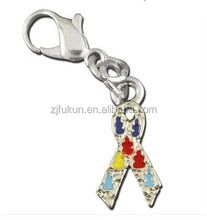 wholesale enamelled breast cancer awareness ribbon charms with lobster clasp