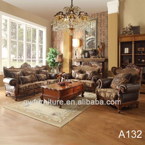 Elegant Solid Wood Hand Carving Sofa Set Simple Living