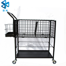 Supermarket metal wire mesh shelf folded storage cage/ warehouse rack JH-N-144