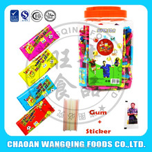 good taste 4cm chewing chinese bubble gum with tattoo jar