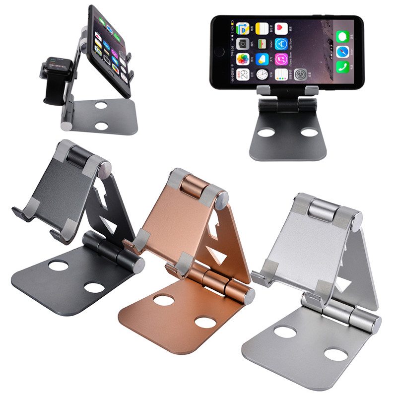 Folding Aluminum Alloy 2 in 1 Metal Stand for Apple Watch , for Mobile Phone Station