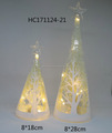 Hot selling glass led christmas tree with star on the top for christmas home decoration