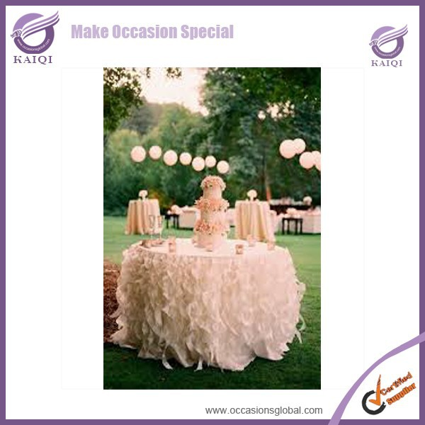k3815 Cheap Hot sale elegant polyester blush pink curly willow fancy wedding frilly table cloths