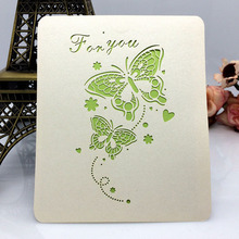 butterfly shaped laser cutting eco-friendly paper 3D pop up greeting cards for birthday