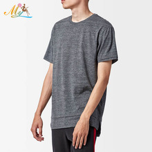 Wholesale Extended Length Layer T-Shirt Crew neck Paneled details Side slits t shirt with short sleeve