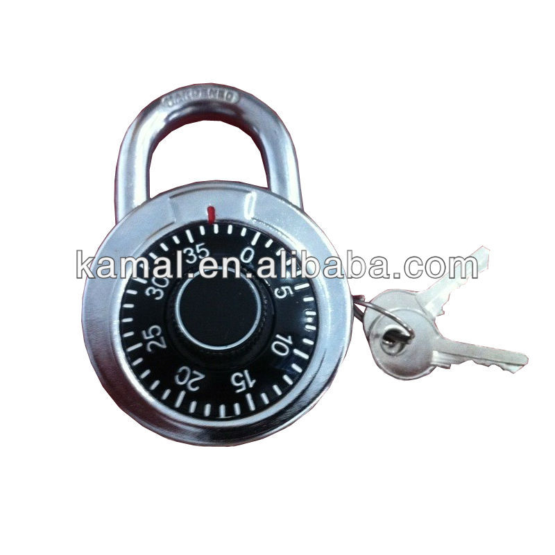 Round shape dial combination padlock with key