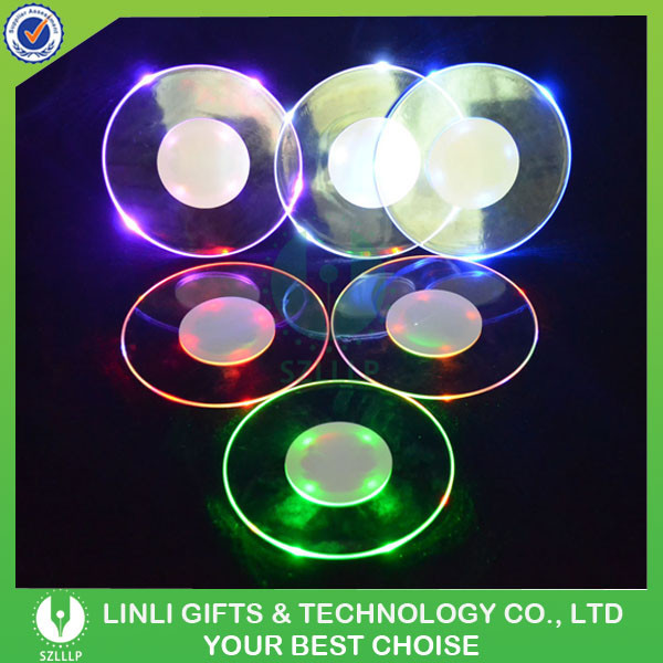 Custom Round Clear Acrylic Coasters With LED, Colorful LED Light Up Plastic Clear Acrylic Coasters