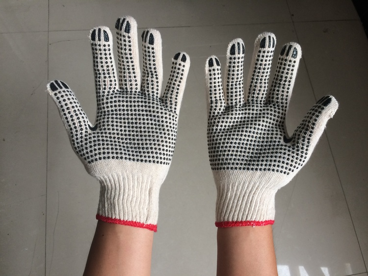 pvc dots natural white cotton glove