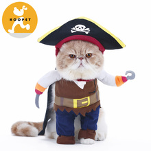New Funny Pet Clothes Pirate Dog Cat Costume Suit Corsair Dressing up Party Apparel Clothing for Cat Dog Plus Hat