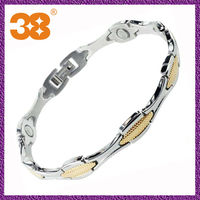 Free shipping silver and gold 5 in 1 magnetic jewelry stainless steel stylish titanium surgical bracelet