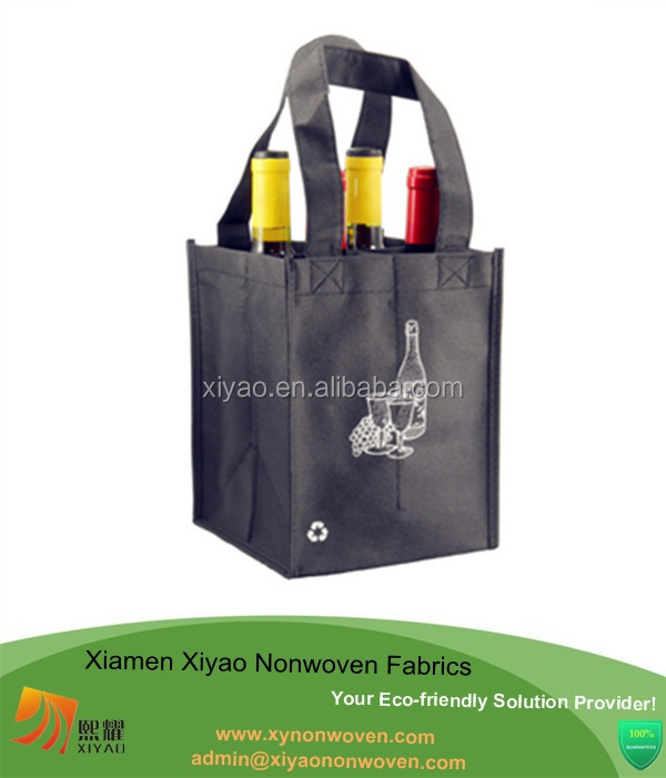 Black eco storag handbag reusable 4 Bottle Wine Tote- 4 Pack wine bottle bag online shopping