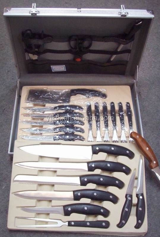 24pcs Stainless Steel Kitchen Knives Set With Plastic Handle In Aluminium Suitcase