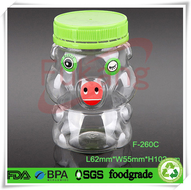 pet jars ,funny animal shaped plastic cookies containers with sticker eye, nose and mouth