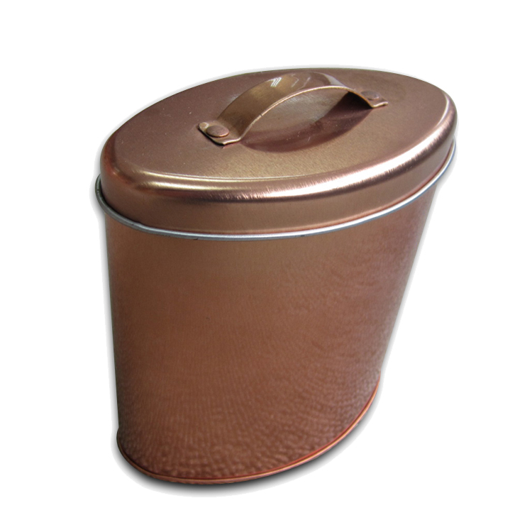 Custom Decorative Oval Shaped Tin Box With Handle