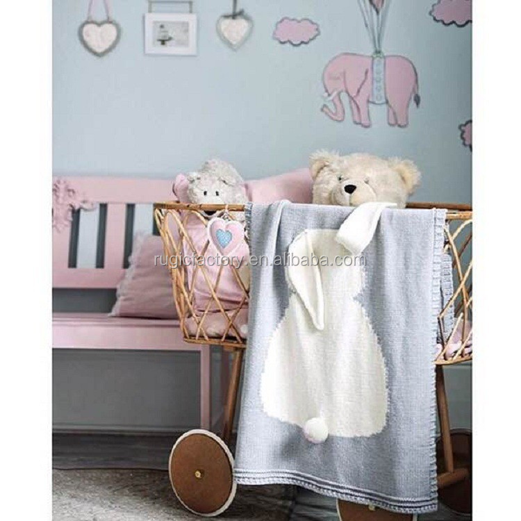 Hot Style Bunny Ears Stereo Blanket Children Cotton Knitted Throw Blanket