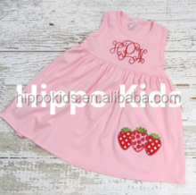 Little girl simple design girls frock strawberry tunic dress monogrammed toddler girls casual dresses