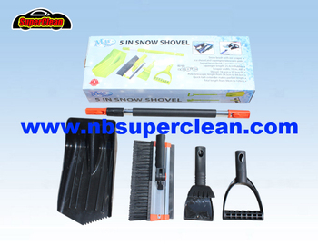 5 in 1 multi-function telescopic snow shovel and snow brush with ice scraper