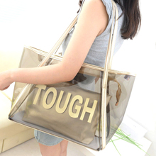 2017 fancy printed colorful transparent clear gold pvc shopping beach tote bag
