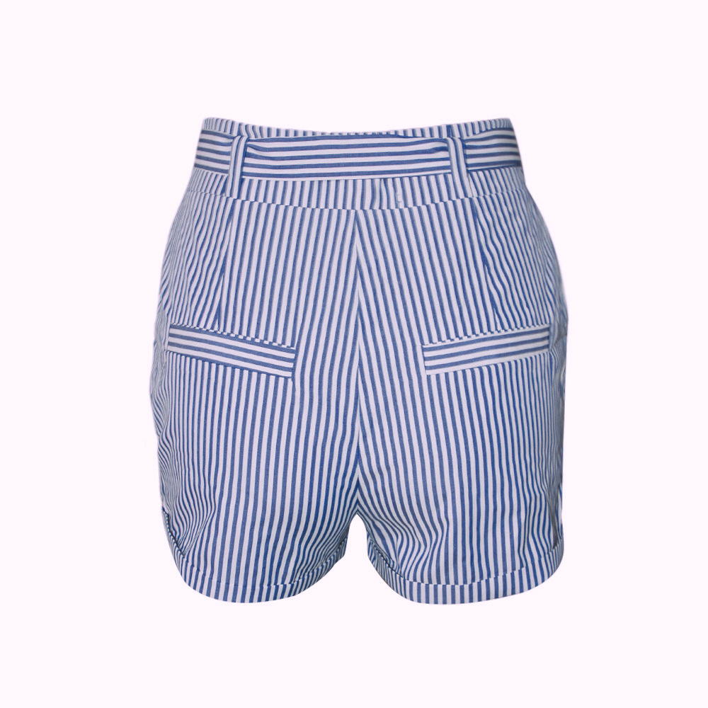 Blue Stripe Bows Summer Shorts Women Icing Shorts Summer Women 2019