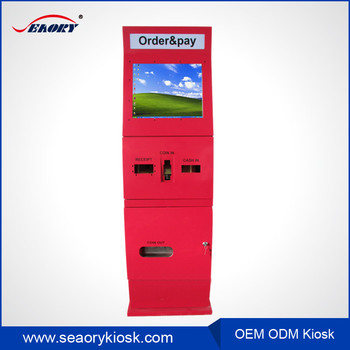 19 inch touch screen payment kiosk with ticket vending