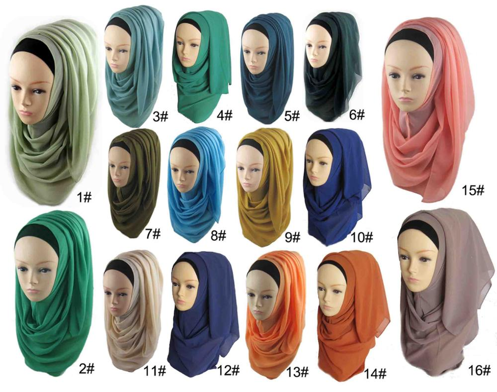 Factory Sale Fashion Plain Chiffon Hijab Solid Color Scarves Malaysia Muslim Arab Scarf 100 More Colors Can Choose