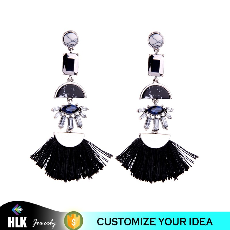 2017 New Fashion Boho Style Black Tassel Drop Earrings Jewelry