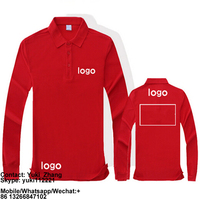 Cotton Long Sleeve Men's Red Polo Shirt