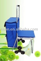 foldable trolly shopping bag with chair