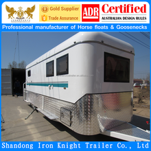 customized model square front roof 2 horse float camper trailer