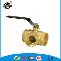Irrigation system T type brass ball 3 way brass ball valve with long handle