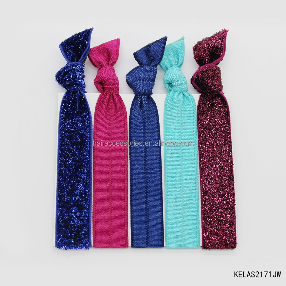5pcs Hair Ties Set ponytail holders glitter ribbon elastic band tie