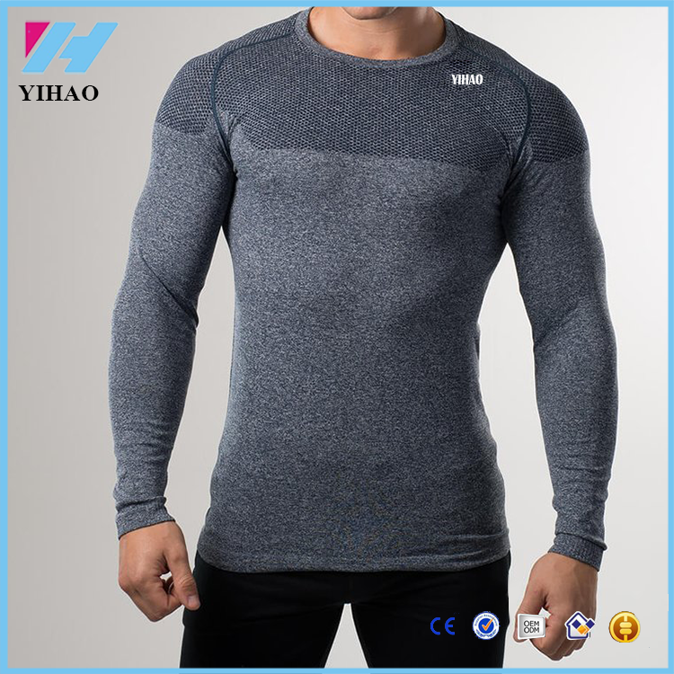 mens custom gym seamless silm long sleeve tops