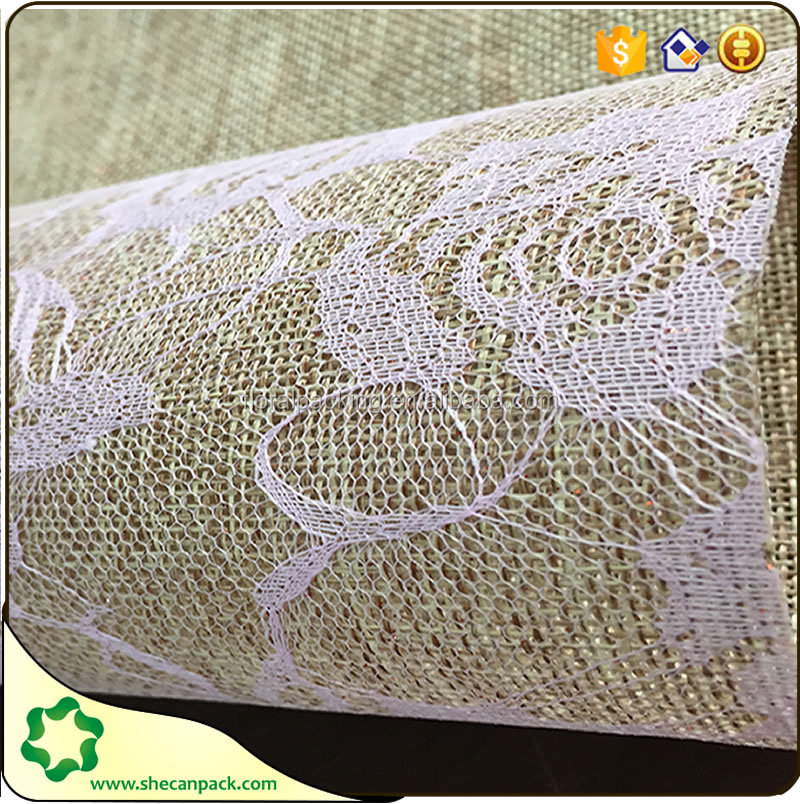 White Burlap Lace Table Runner for Wedding Shabby Chic Jute Vintage Decor