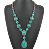 Wholesale Antique Silver Alloy Green Turquoise Gemstone Bead Chain Necklace With Waterdrop Pendant