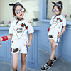 biger girls summer clothing rose t shirts +shorts fashion style kids girls summer sport clothes morning running sets