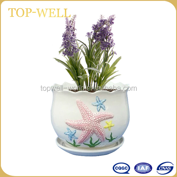 Hot sell emboss ceramic flower pot garden ceramic pot made in china wholesale