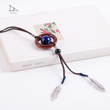 All-match New Retro pendant charms ceramic beads necklaces long sweater ceramics necklace women