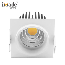Square 10w 15w cob commercial dimmable recessed led ceiling downlight