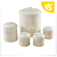 5pcs Galvanized Steel Food Canister with Decal