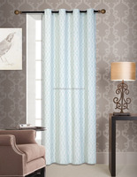 POLYESTER JACQUARD FAUX LINEN FABRIC WINDOW CURTAIN WITH 8 EYELETS/Latest curtain fashion designs,LIGHT BLUE