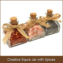 Spices in Cute Creative Square 100ml Glass Jar with Cork and Bow Perfect for Spice Shops and Spice Gift Distributors and Amazon